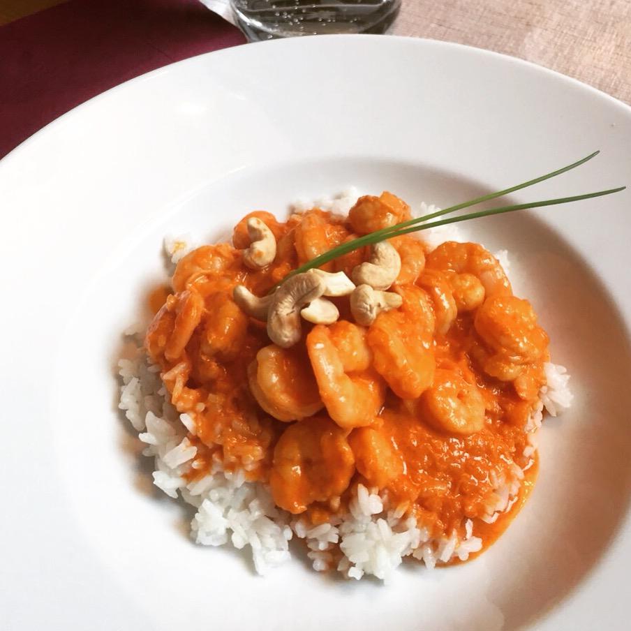 Garnelencurry mit Reis