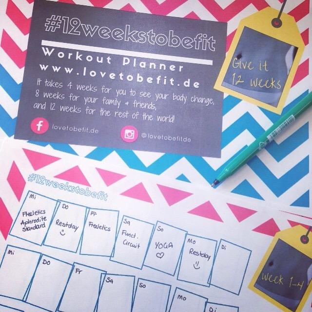Der #12weekstobefit Workout Planner gratis zum Downloaden!